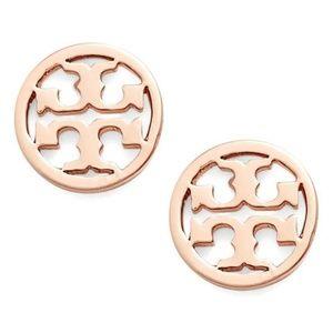 Tory Burch Classic Rose Gold Circle Logo Earrings